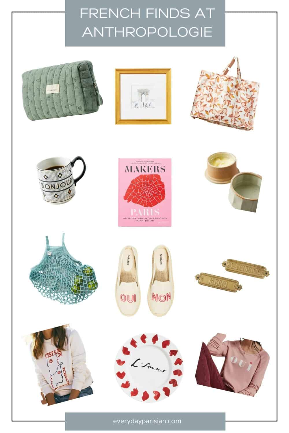 collage of items from anthroplogie for how to host a parisian picnic