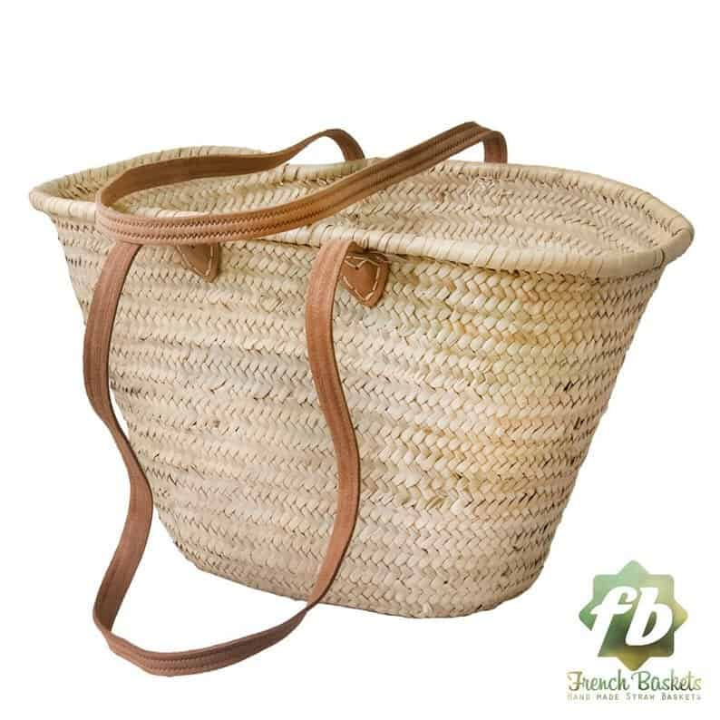 french market basket with leather straps
