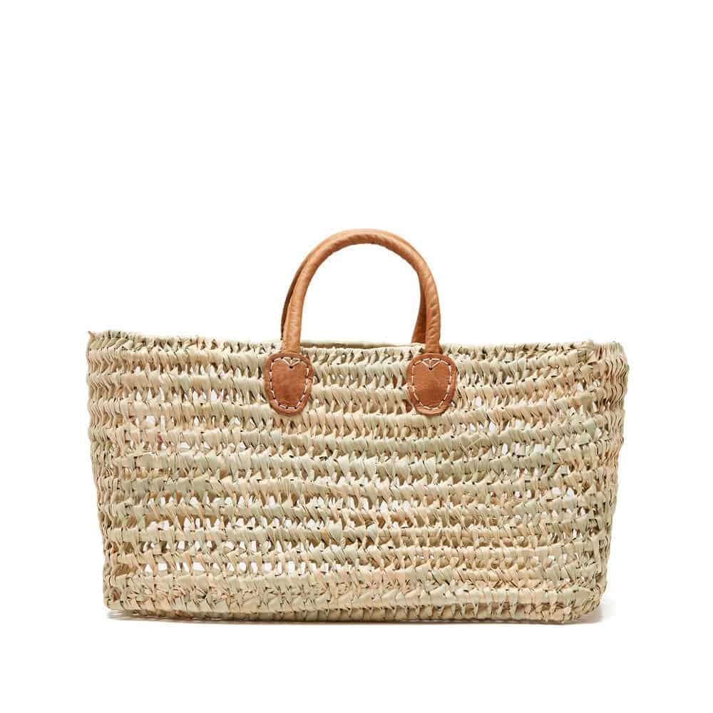 rectangular french market basket with leather straps