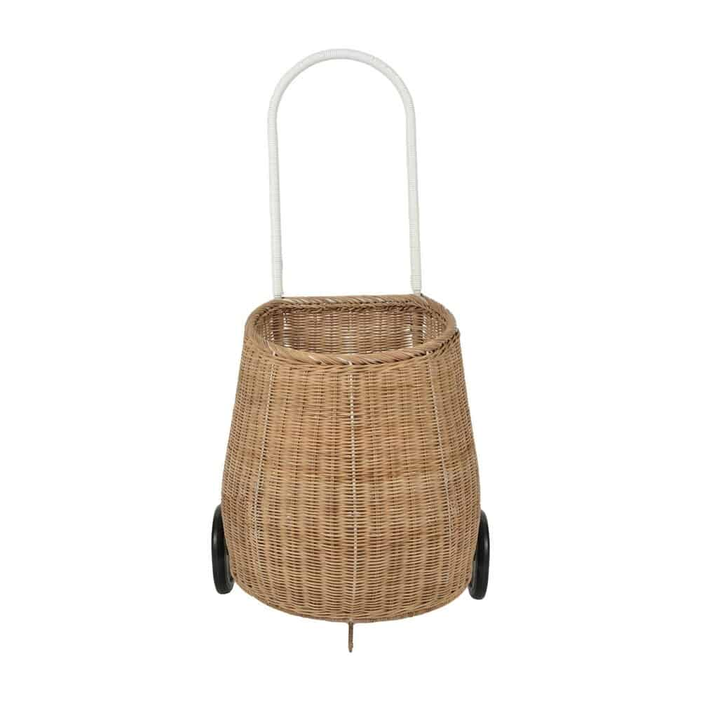 french market basket with handle and two wheels