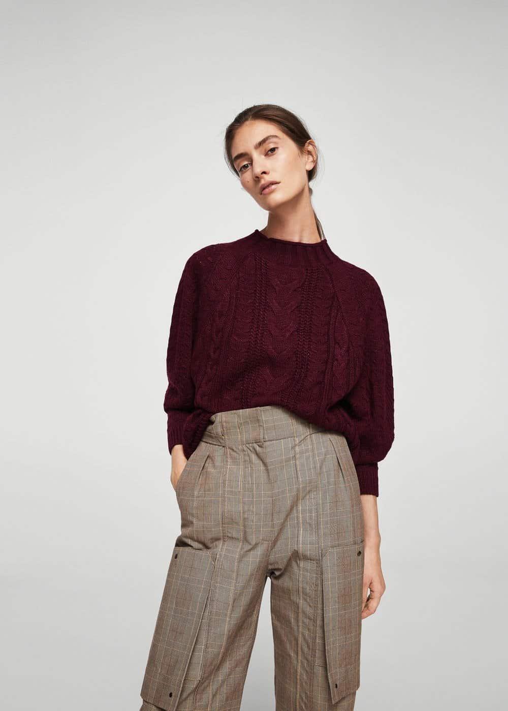 mango knit sweater burgundy