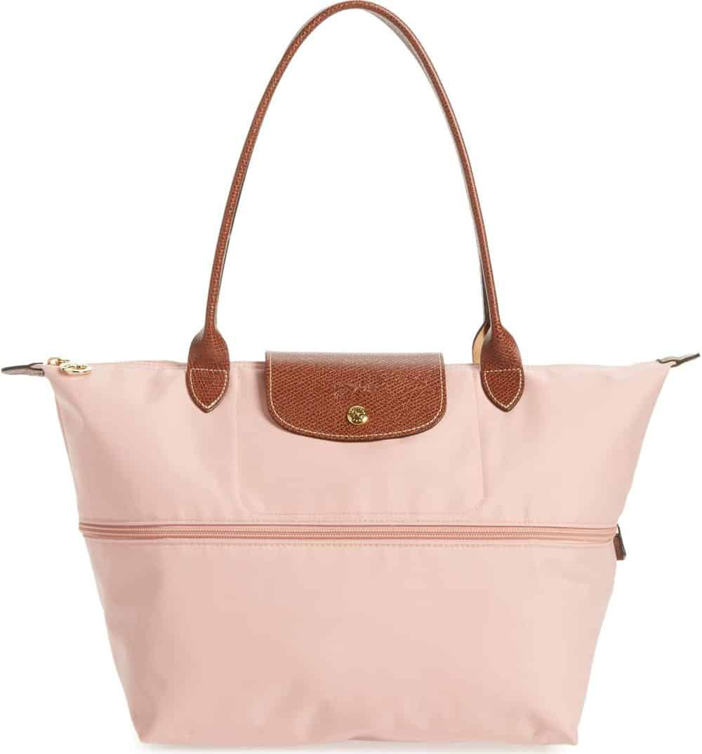 """longchamp """"le pliage"""" expandable tote in baby pink"""