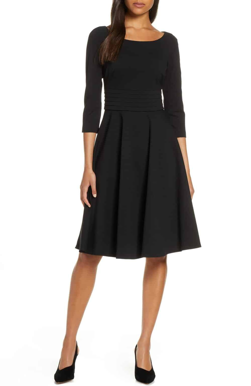 fit and flare black dress perfect for Paris everyday parisian