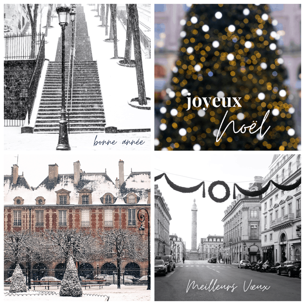 holiday card preview set of 4 everyday parisian rebecca plotnick
