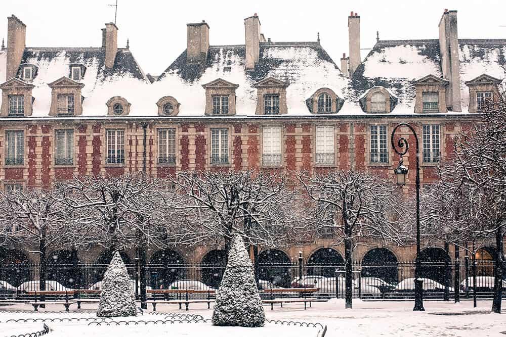 paris holiday card snow rebecca plotnick place des vosges