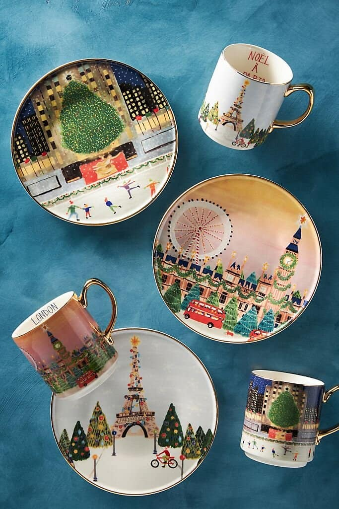 anthropologie christmas plate and mug