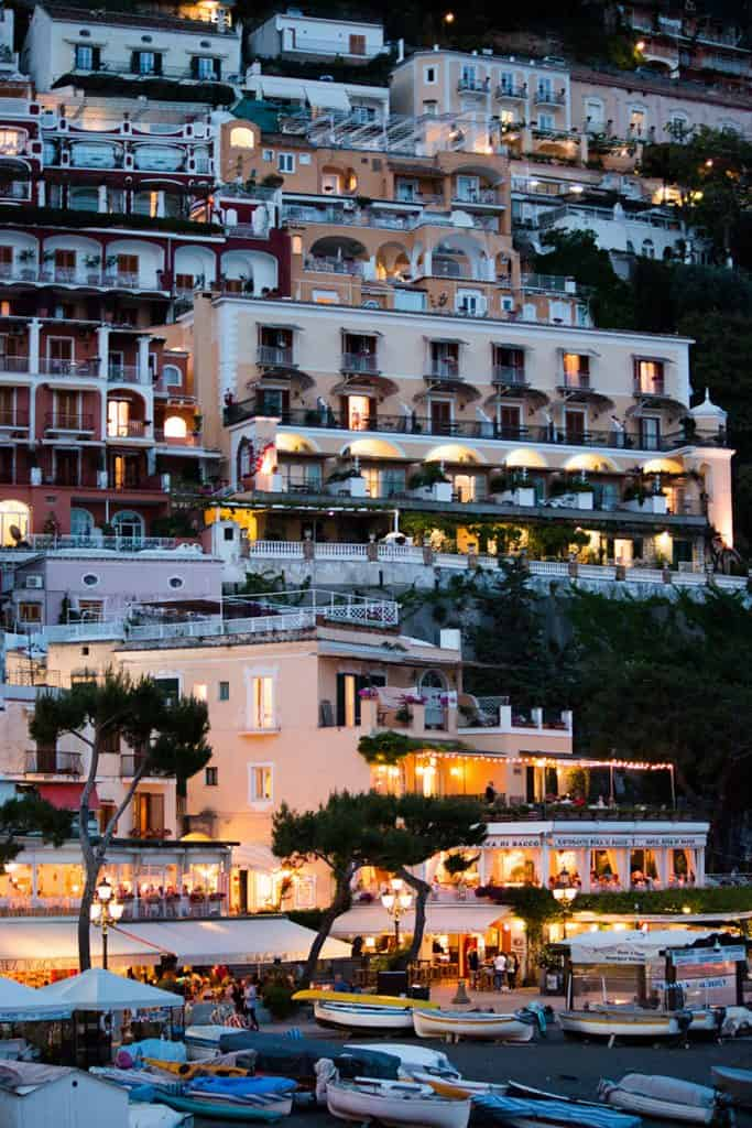 boats and buildings in Positano for The Italy fund