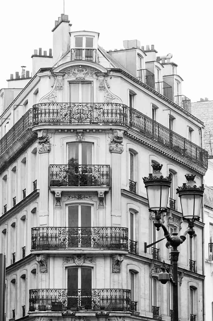 Shop Black and White Paris Apartments Print Here