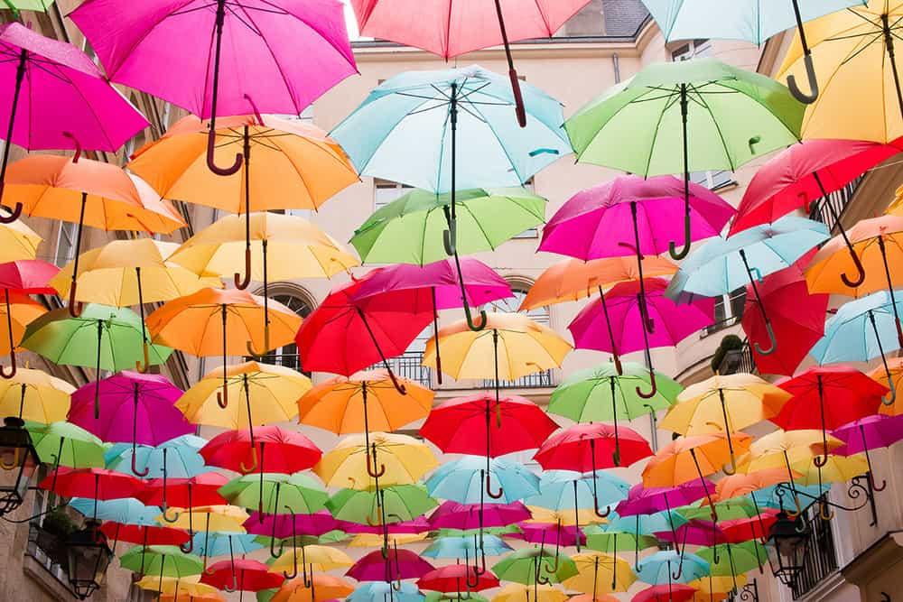 royal village colorful umbrellas paris france