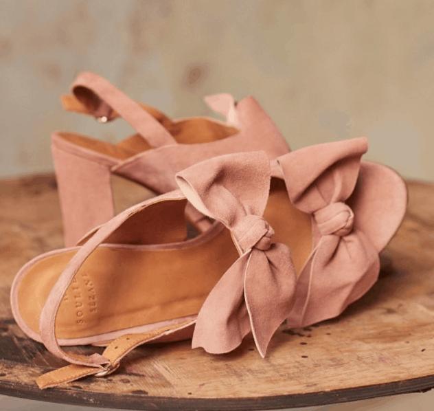 sezane pink bow shoes