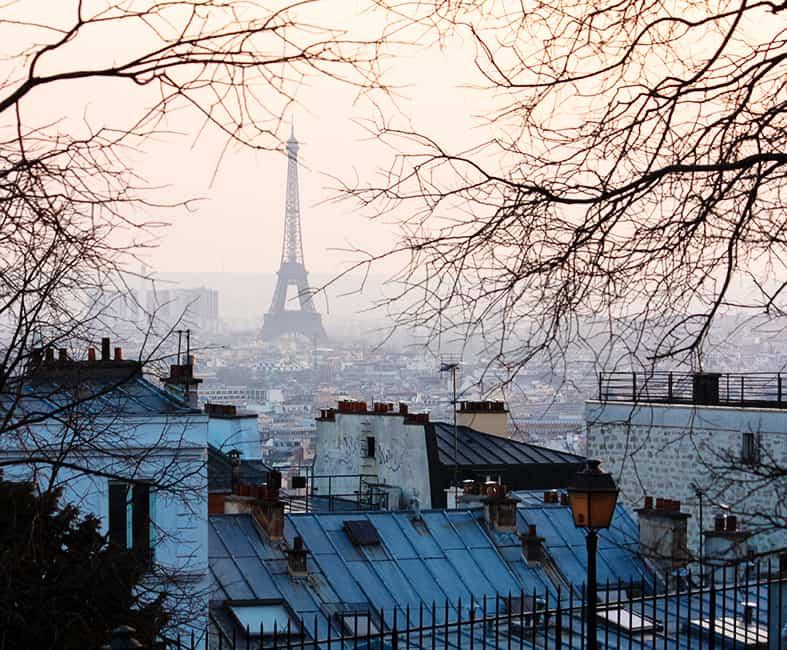 montmartre paris france eiffel tower view