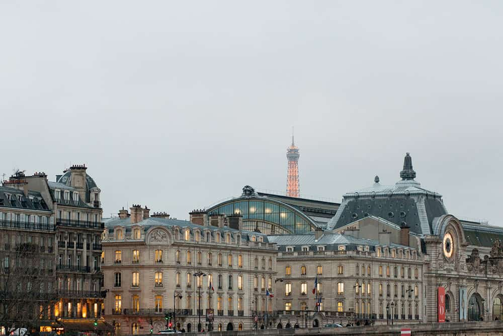 paris in the winter overlooking the musee d'orsay