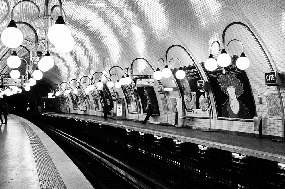 line one metro on ile de la cité by place dauphine