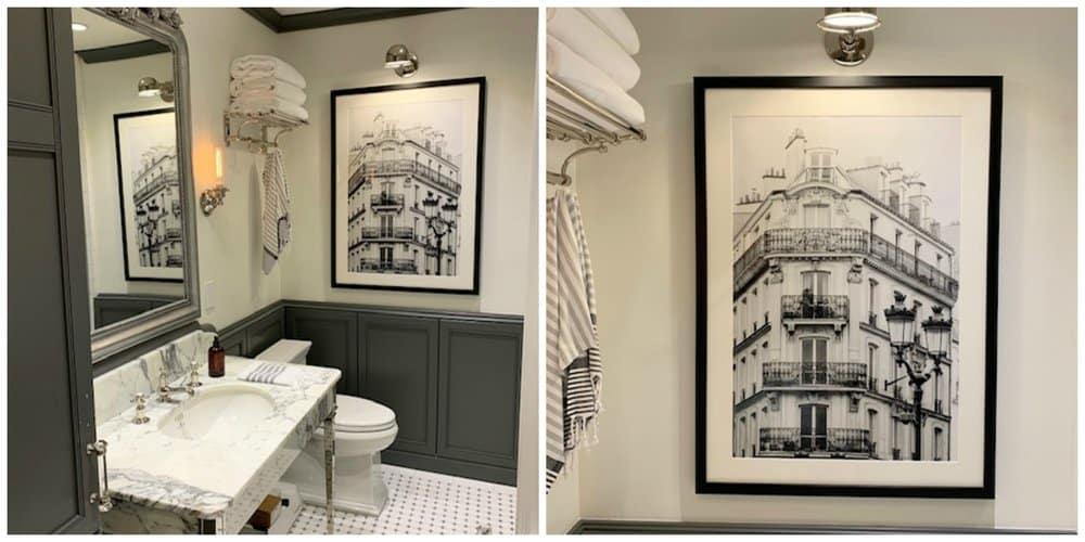 black and white parisian bathroom