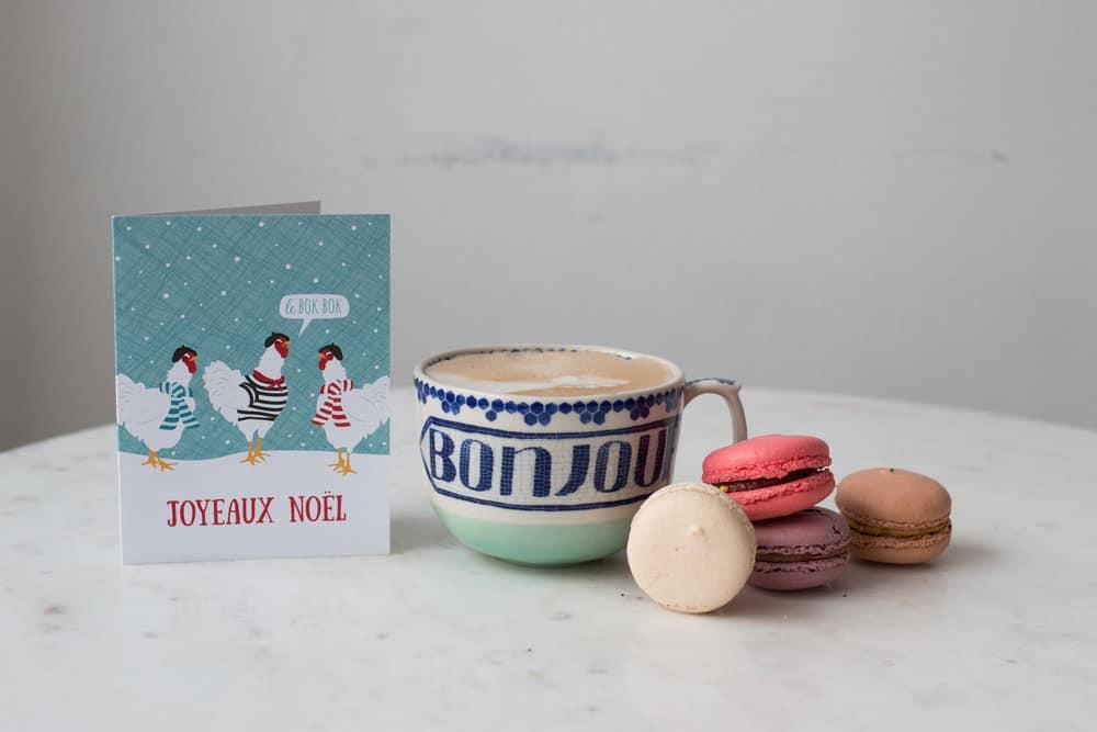 bonjour mug and macarons