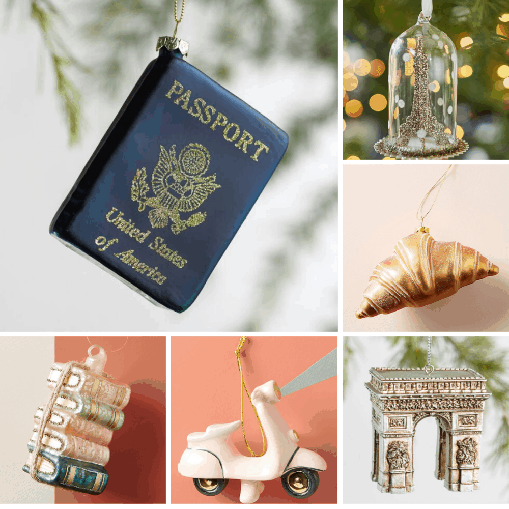 Paris inspired christmas ornaments