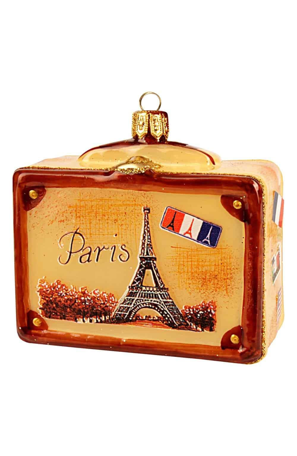 paris travel suitcase ornament