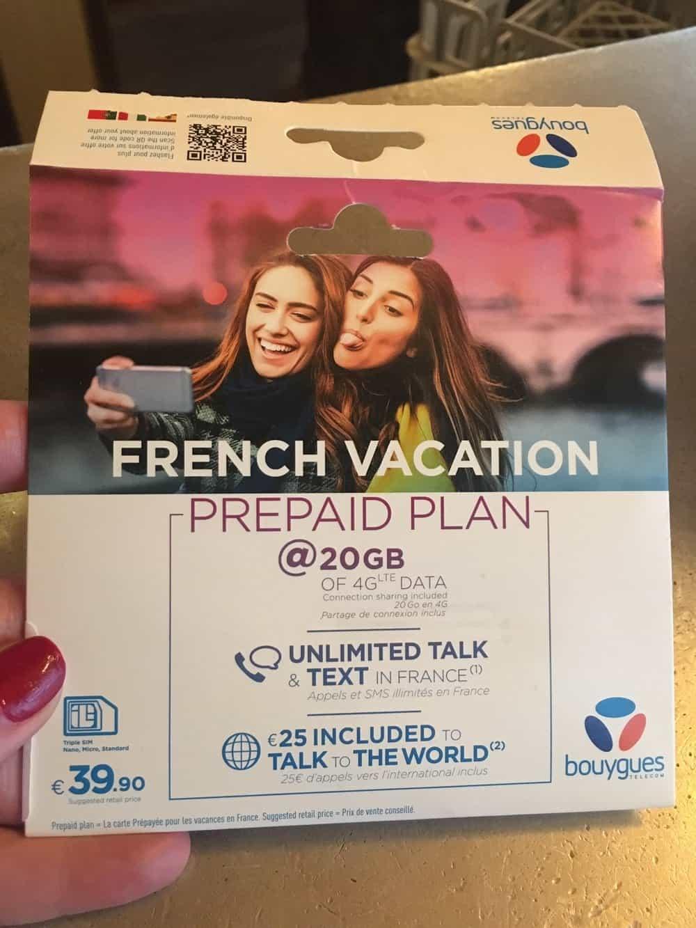 sim card in France 40 euros prepaid plan