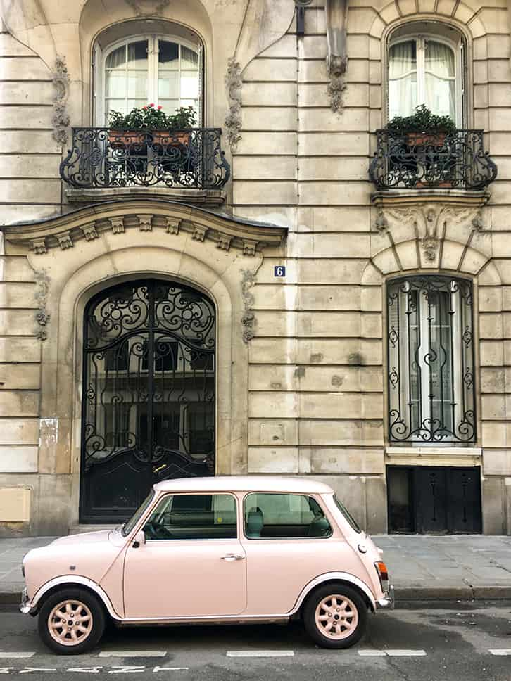 pink car on the streets of Paris