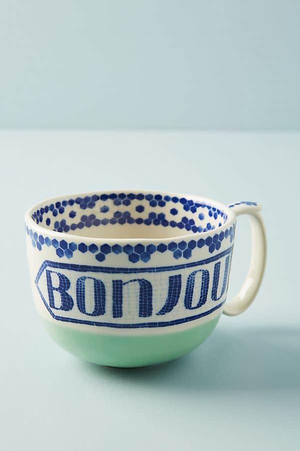 bonjour coffee mug from Anthropologie