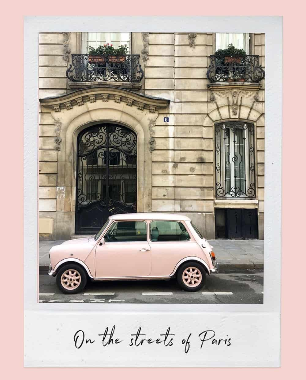 pink car on the streets of Paris, France by Rebecca Plotnick