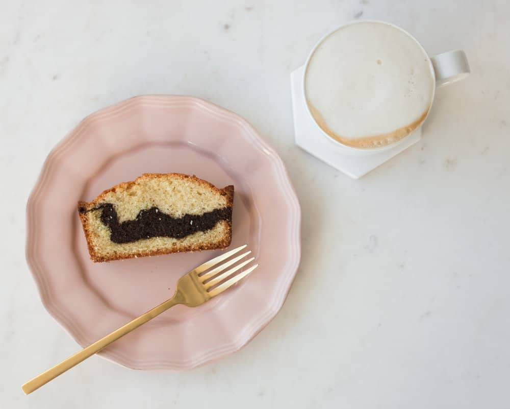 marble cake and coffee