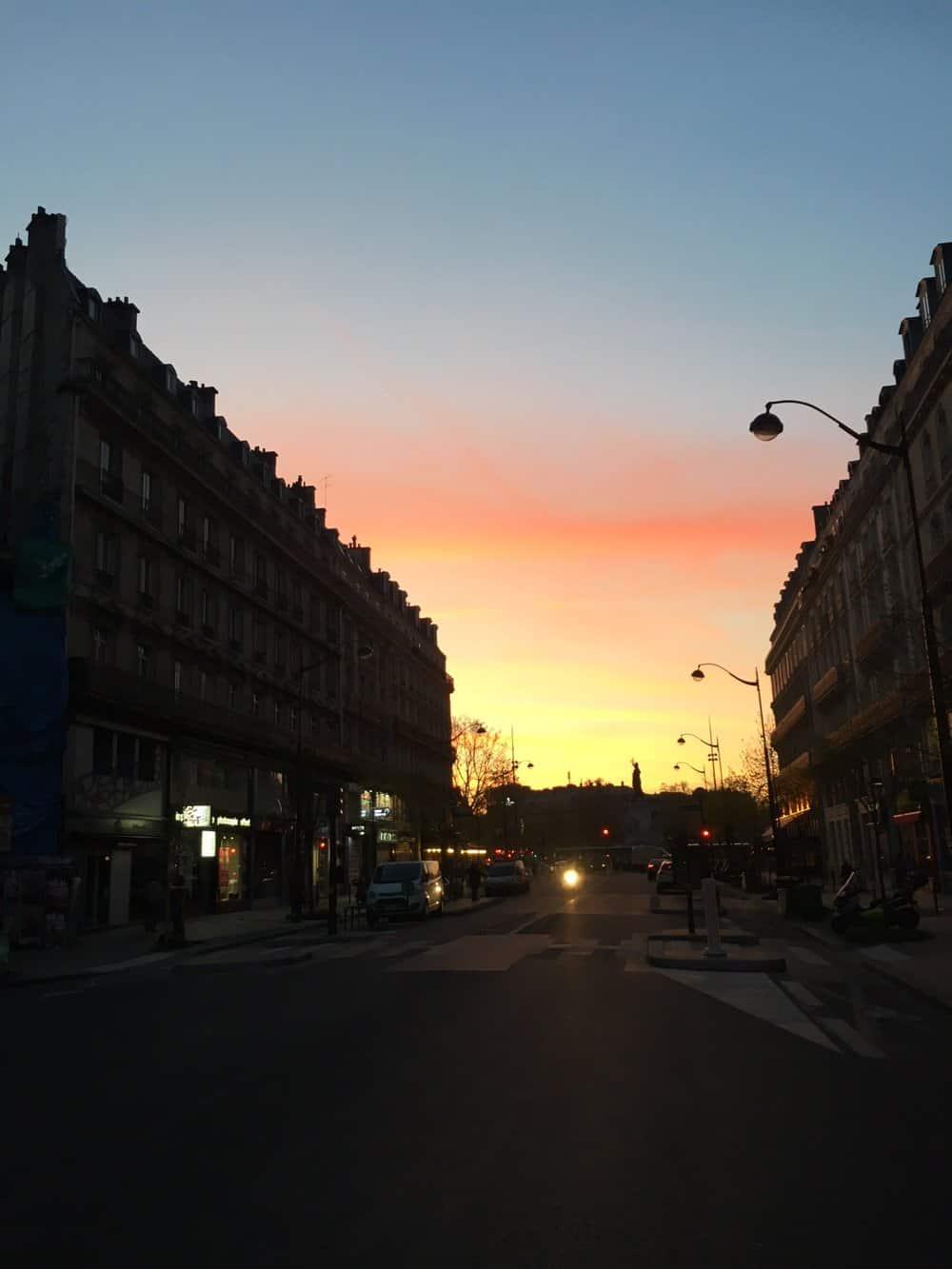 sunset in paris france
