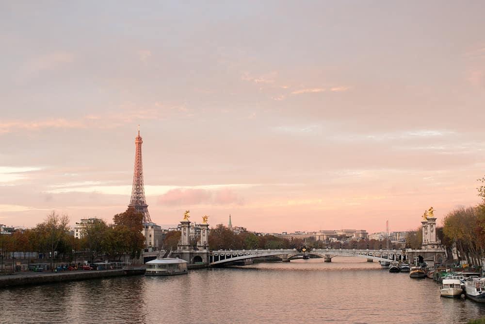 paris france sunrise on the seine