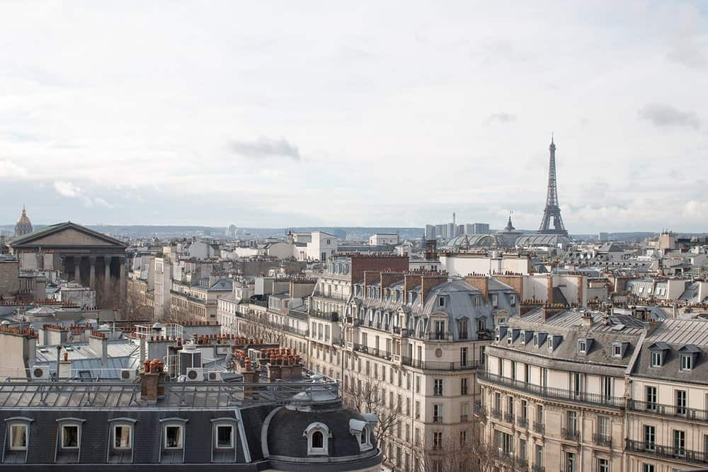 eiffel tower rooftop view of paris