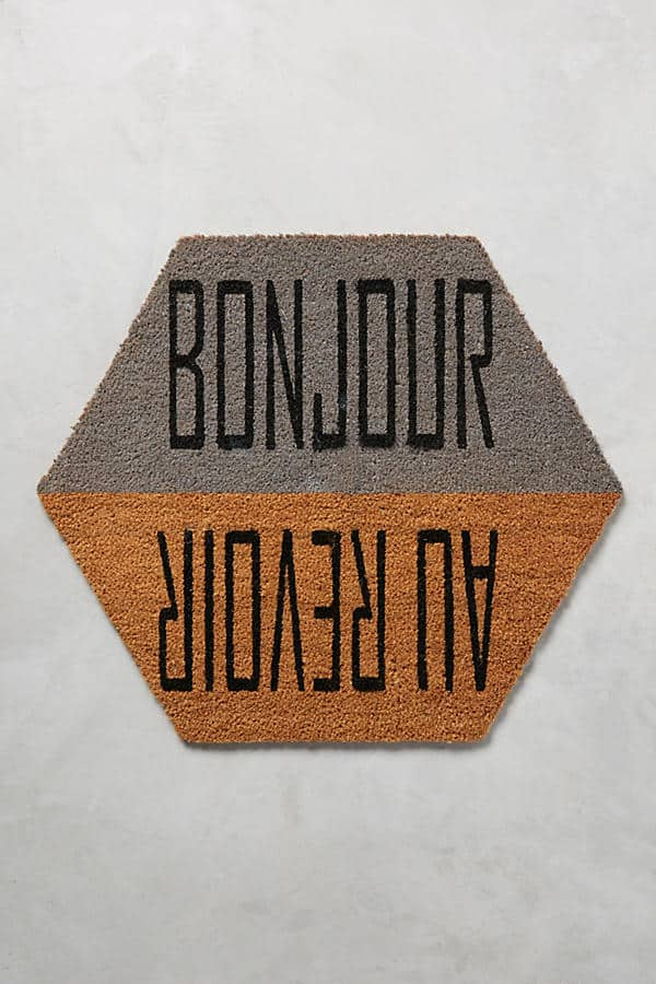 Bonjour/Au Revoir - door mat