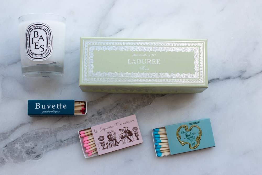 match box storage in a ladurée box