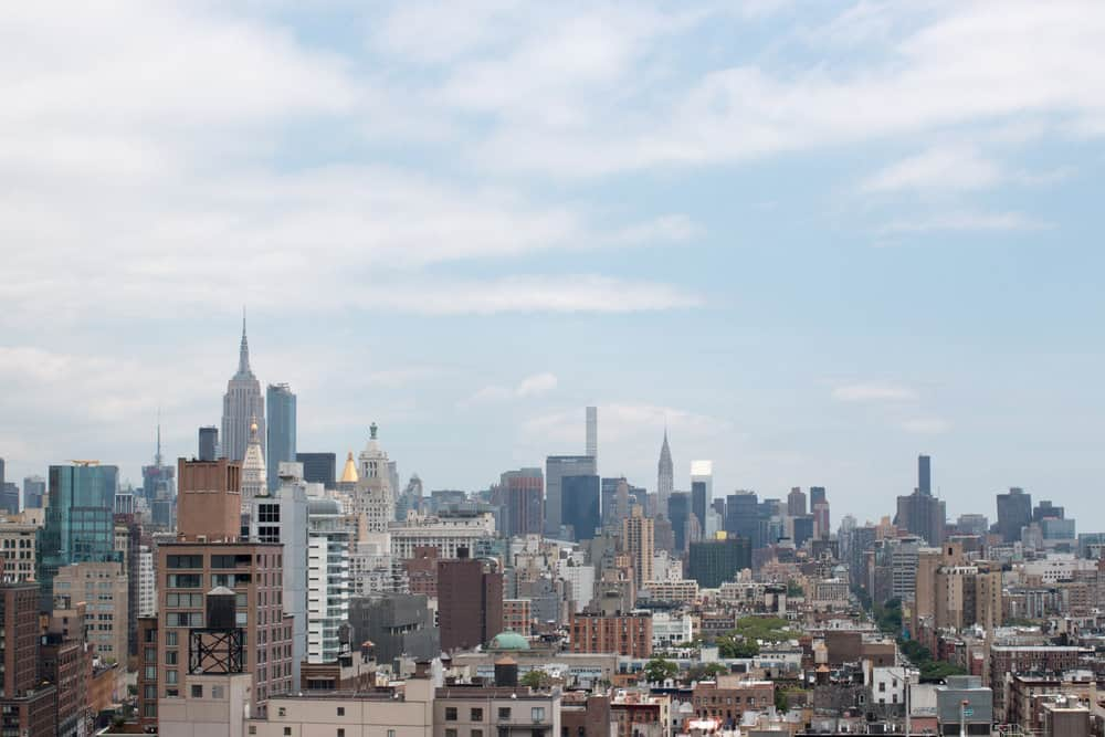 new york city skyline from lower east side