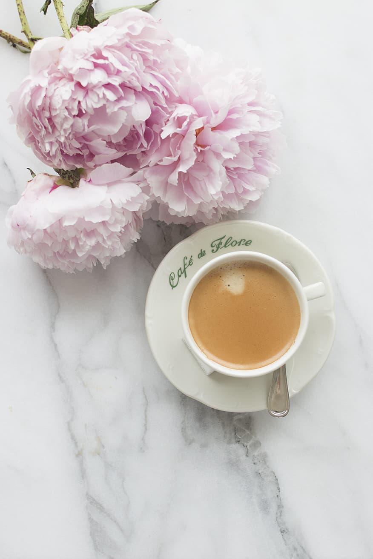 pink peonies and coffee via everyday parisian