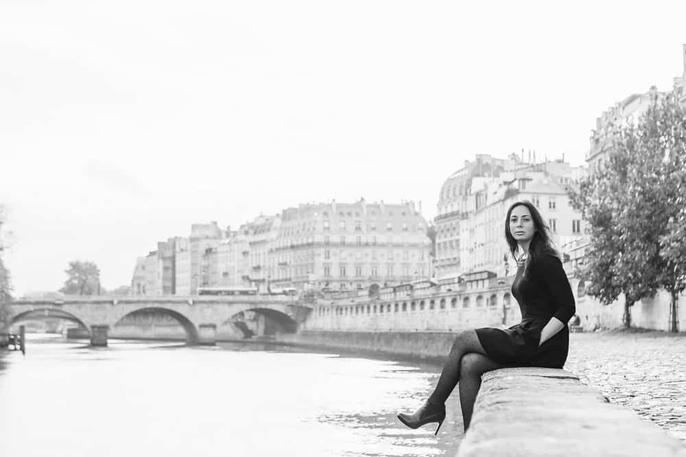 rebecca plotnick in black and white on the seine in paris, france