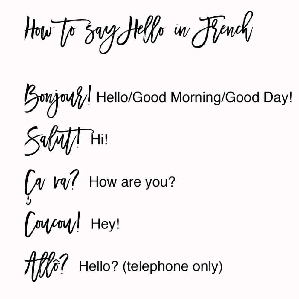 how to say hello in French via french is beautiful