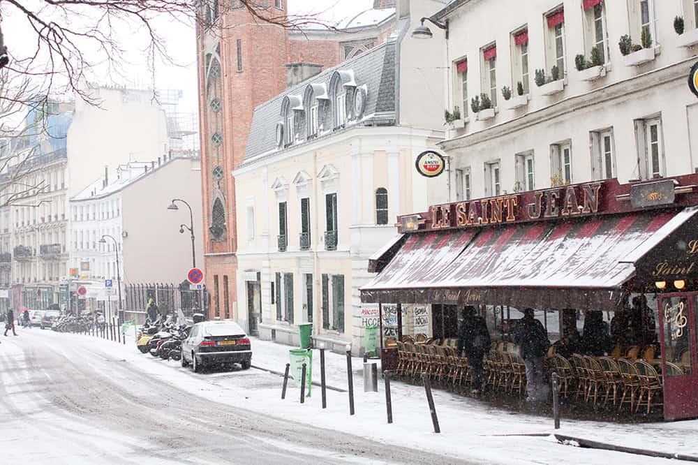rue des abbesses in the snow @rebeccaplotnick