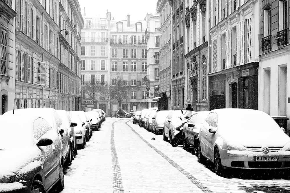 paris street covered in snow @rebeccaplotnick