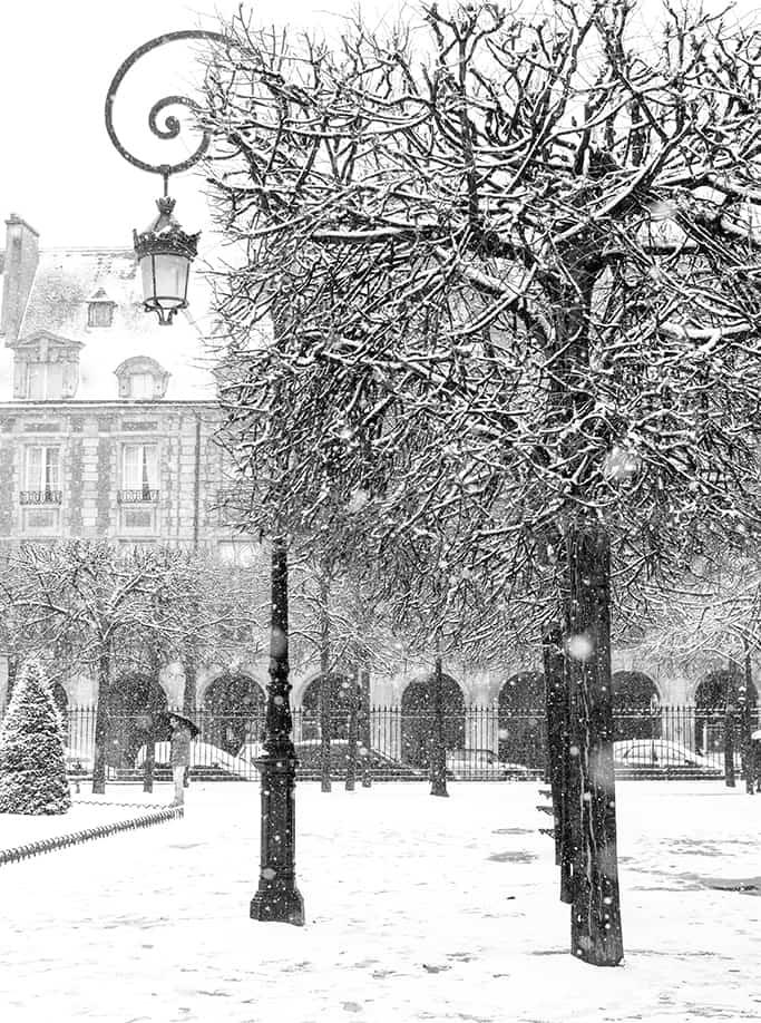 place de vosges in the snow  @rebeccaplotnick