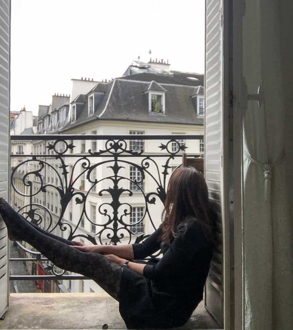 Me in Paris staying at the Notre Dame Haven in Apartment