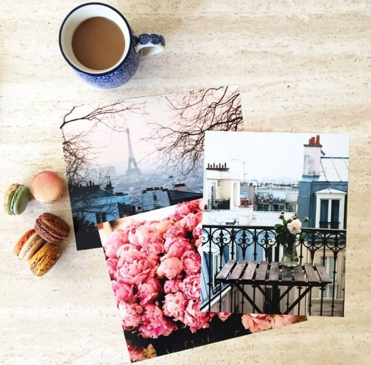 a cup of coffee, printed photos and dessert for Links I Love Week 23