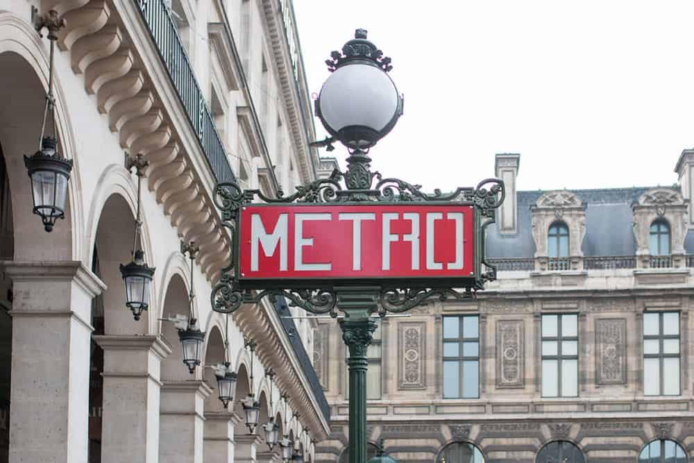 Paris Metro sign Louvre