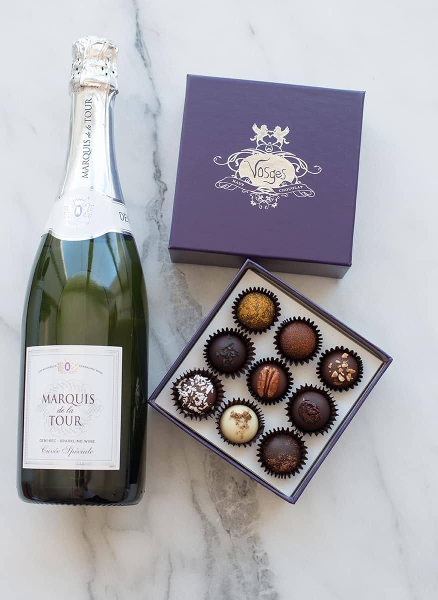 Champagne and  Vosges Chocolates