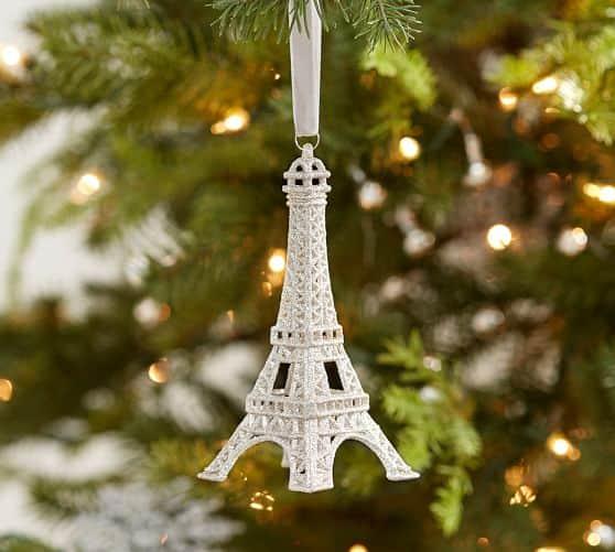 glitter eiffel tower ornament