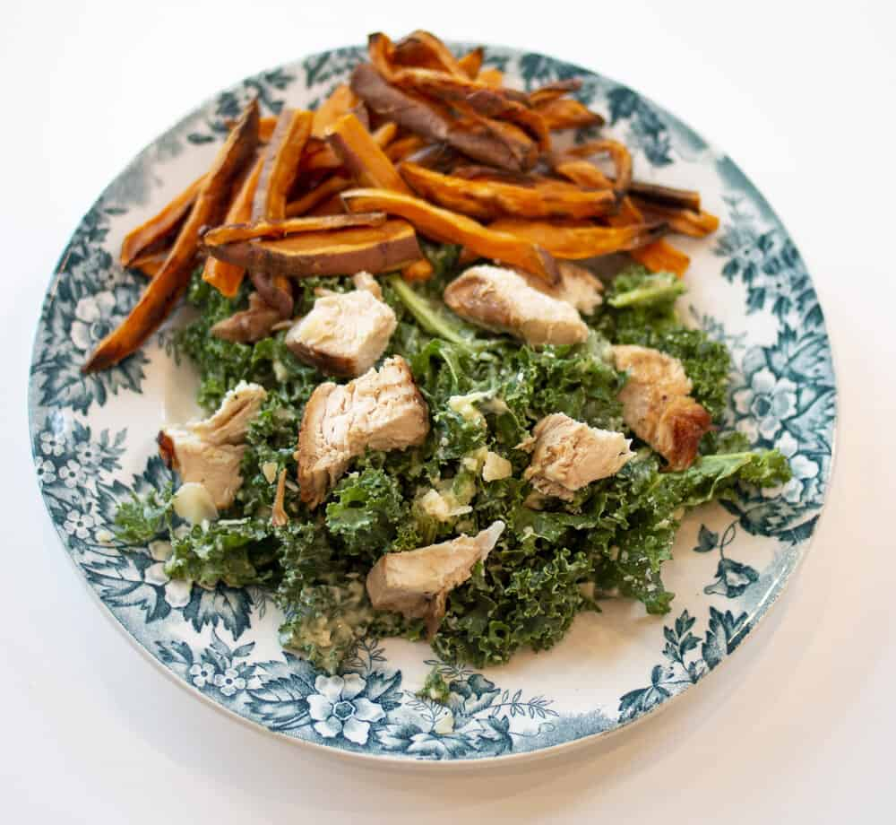 kale salad and sweet potato fries