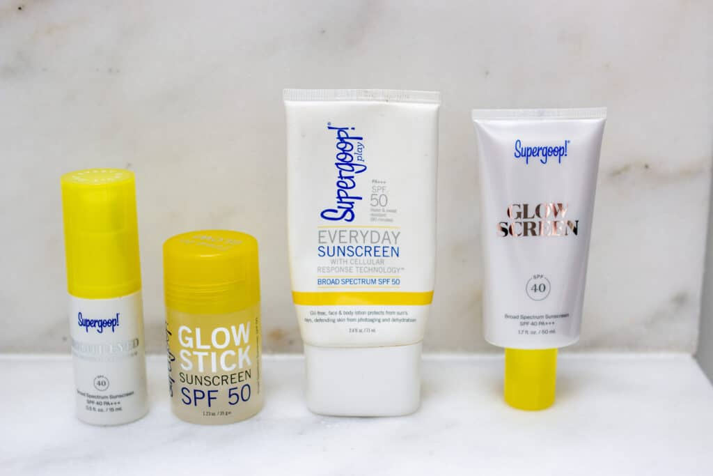 Supergoop Sunscreen products on display