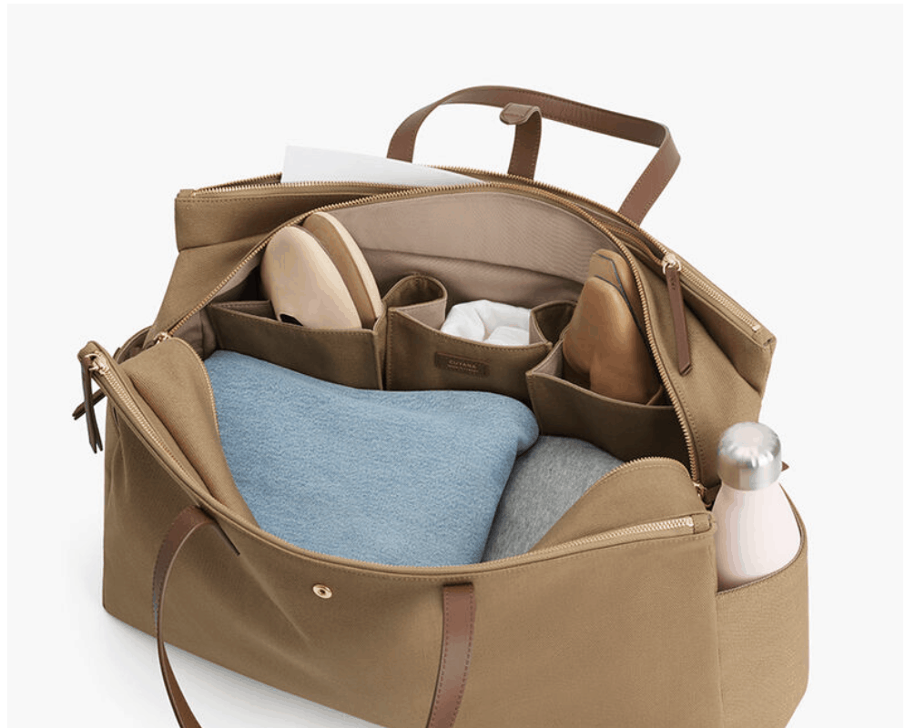 brown bag with compartments to Pack in a Carry-On