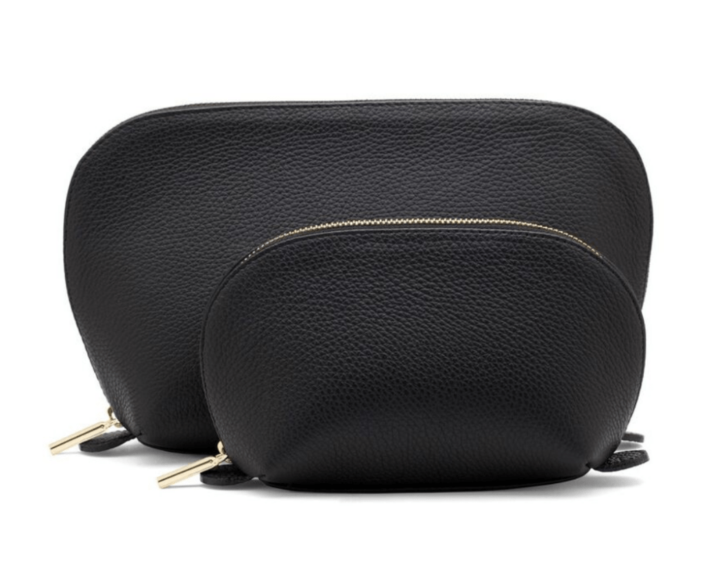 leather toiletries bags in black to Pack in a Carry-On