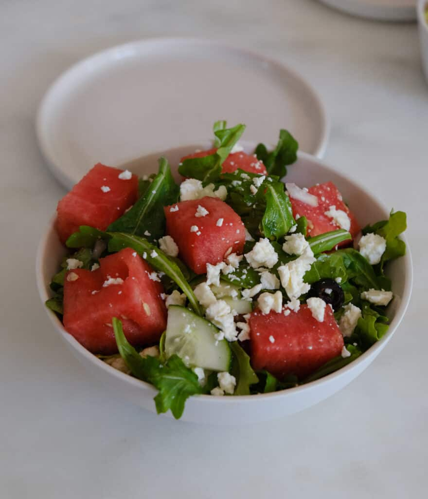watermelon Summer Salads on a white bowl