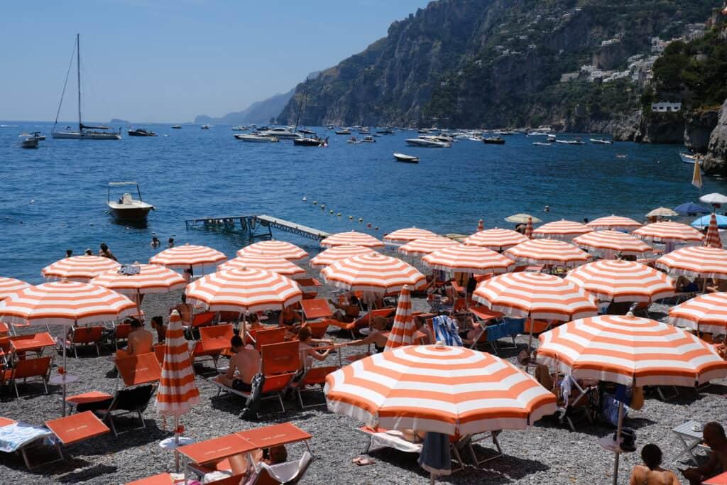 shore of the Positano Arenzio with beach umbrella