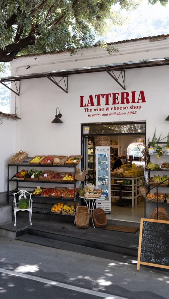 exterior of Latteria the wine and cheese shop for Amalfi Coast Guide
